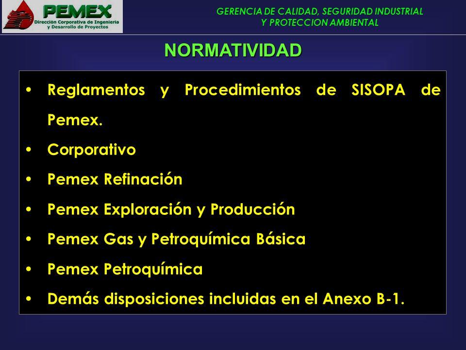 GERENCIA DE CALIDAD, SEGURIDAD INDUSTRIAL Y PROTECCION AMBIENTAL Reglamentos y Procedimientos de SISOPA de Pemex. Corporativo Pemex Refinación Pemex E