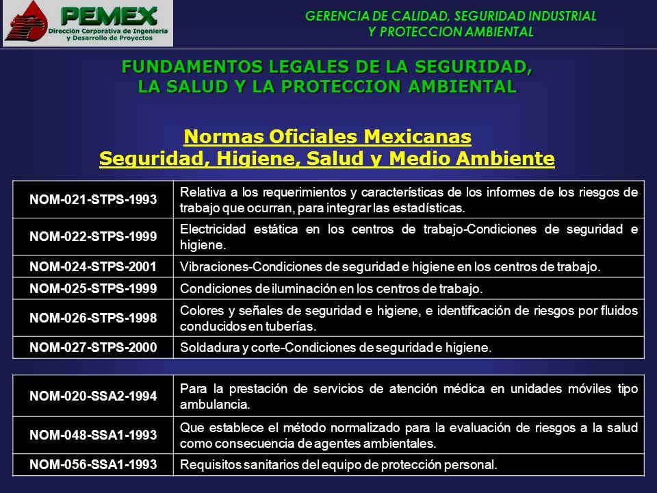 GERENCIA DE CALIDAD, SEGURIDAD INDUSTRIAL Y PROTECCION AMBIENTAL Normas Oficiales Mexicanas Seguridad, Higiene, Salud y Medio Ambiente NOM-021-STPS-19