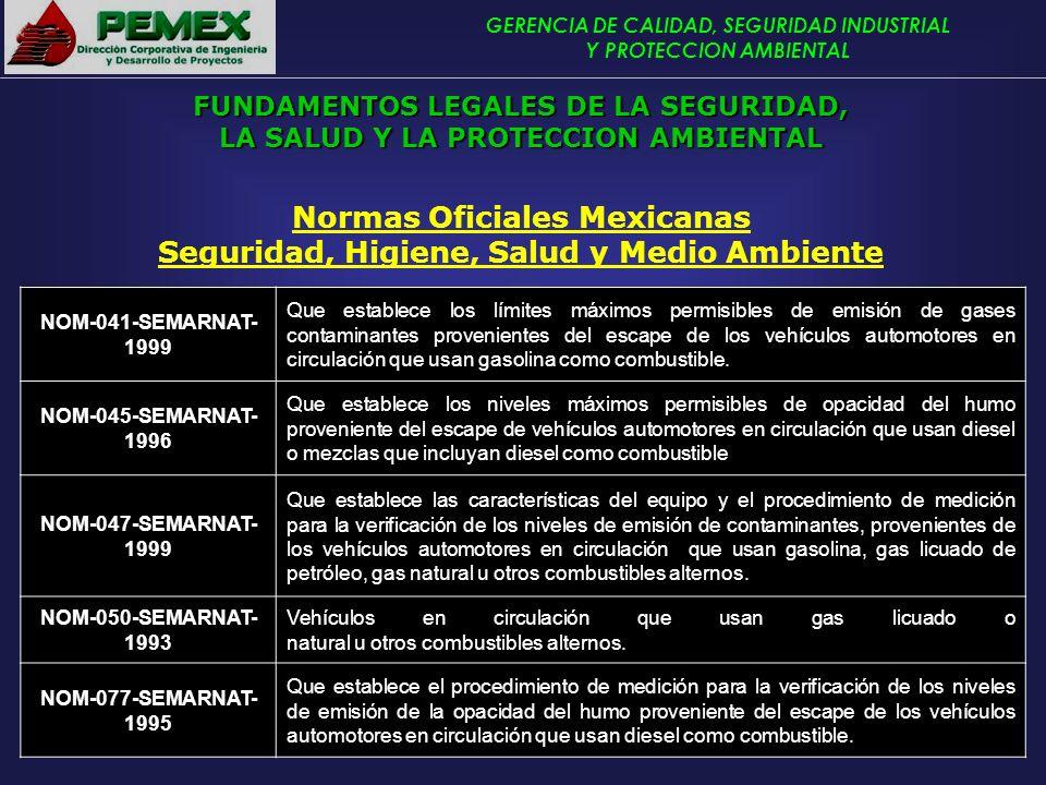 GERENCIA DE CALIDAD, SEGURIDAD INDUSTRIAL Y PROTECCION AMBIENTAL Normas Oficiales Mexicanas Seguridad, Higiene, Salud y Medio Ambiente NOM-041-SEMARNA