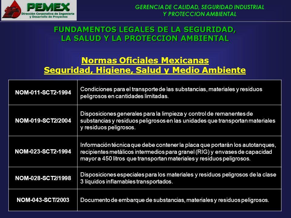 GERENCIA DE CALIDAD, SEGURIDAD INDUSTRIAL Y PROTECCION AMBIENTAL Normas Oficiales Mexicanas Seguridad, Higiene, Salud y Medio Ambiente NOM-011-SCT2-19