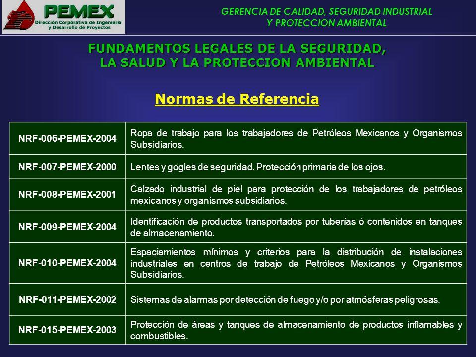 GERENCIA DE CALIDAD, SEGURIDAD INDUSTRIAL Y PROTECCION AMBIENTAL Normas de Referencia NRF-006-PEMEX-2004 Ropa de trabajo para los trabajadores de Petr