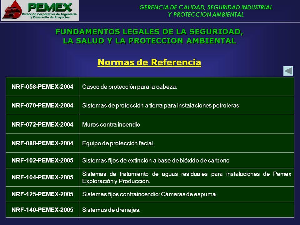 GERENCIA DE CALIDAD, SEGURIDAD INDUSTRIAL Y PROTECCION AMBIENTAL Normas de Referencia NRF-058-PEMEX-2004Casco de protección para la cabeza. NRF-070-PE