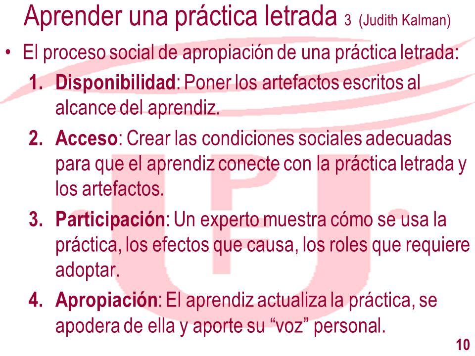 Aprender una práctica letrada 3 (Judith Kalman) El proceso social de apropiación de una práctica letrada: 1. Disponibilidad : Poner los artefactos esc