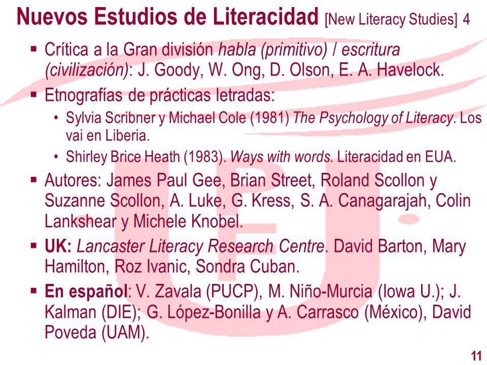 11 Nuevos Estudios de Literacidad [New Literacy Studies] 4 Crítica a la Gran división habla (primitivo) / escritura (civilización) : J. Goody, W. Ong,