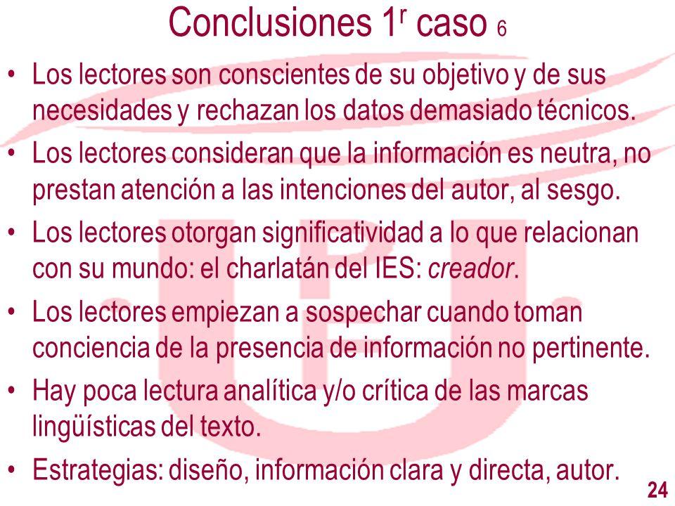 Conclusiones 1 r caso 6 Los lectores son conscientes de su objetivo y de sus necesidades y rechazan los datos demasiado técnicos. Los lectores conside