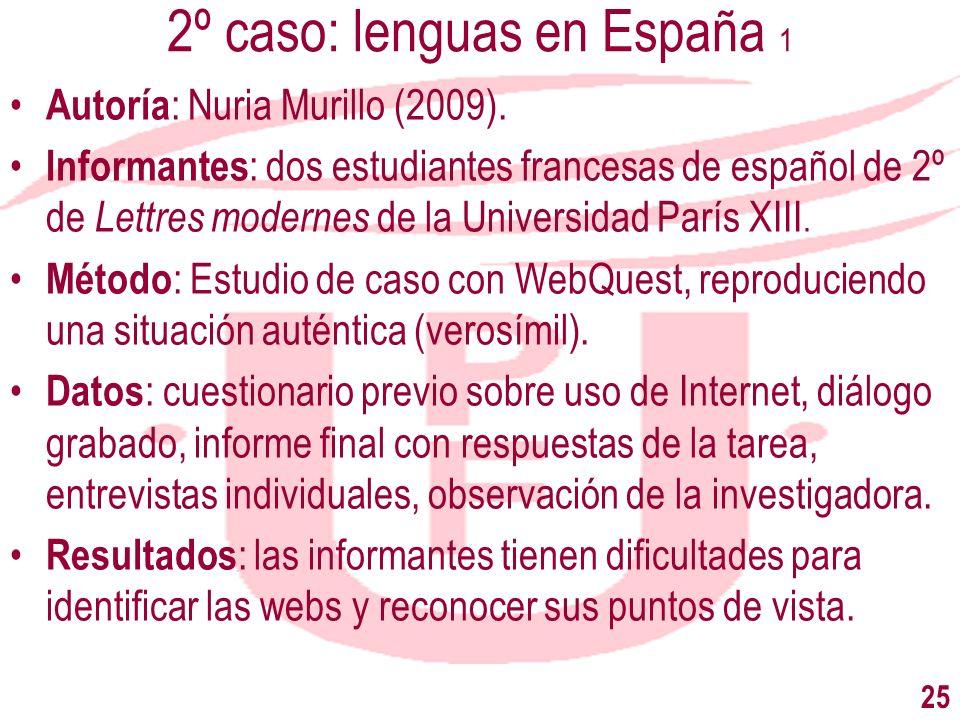 2º caso: lenguas en España 1 Autoría : Nuria Murillo (2009). Informantes : dos estudiantes francesas de español de 2º de Lettres modernes de la Univer
