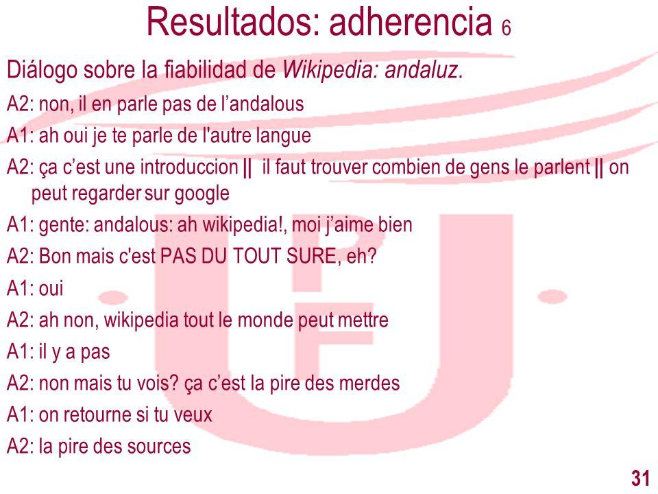 Resultados: adherencia 6 Diálogo sobre la fiabilidad de Wikipedia: andaluz. A2: non, il en parle pas de landalous A1: ah oui je te parle de l'autre la