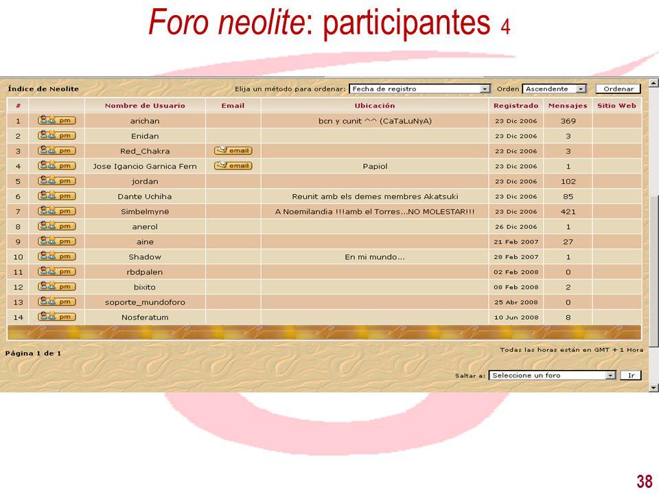 38 Foro neolite : participantes 4