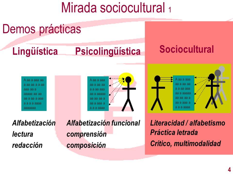4 Mirada sociocultural 1 Demos prácticas LingüísticaPsicolingüística Sociocultural A aa a aaa aa a aa aa a a aa aaa aa a aaaaa aa aa aa a aa a aaa a a