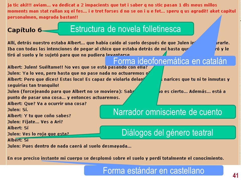 41 Narrador omnisciente de cuento Diálogos del género teatral Estructura de novela folletinesca Forma ideofonemática en catalán Forma estándar en cast
