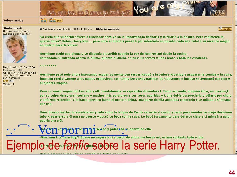 44 ·.·´¯`· Ven por mi ·´¯`·.· Ejemplo de fanfic sobre la serie Harry Potter.