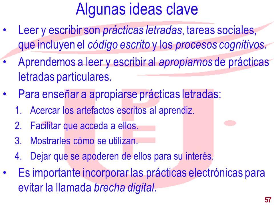 57 Algunas ideas clave Leer y escribir son prácticas letradas, tareas sociales, que incluyen el código escrito y los procesos cognitivos. Aprendemos a