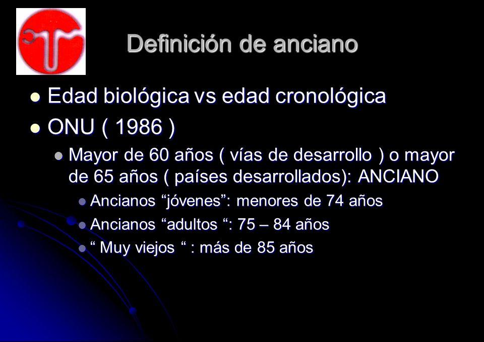 Definición de anciano Edad biológica vs edad cronológica Edad biológica vs edad cronológica ONU ( 1986 ) ONU ( 1986 ) Mayor de 60 años ( vías de desar