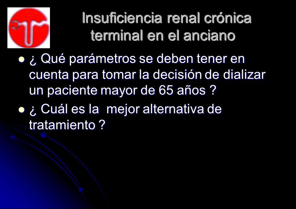 Insuficiencia renal crónica terminal en el anciano Insuficiencia renal crónica terminal en el anciano ¿ Qué parámetros se deben tener en cuenta para t