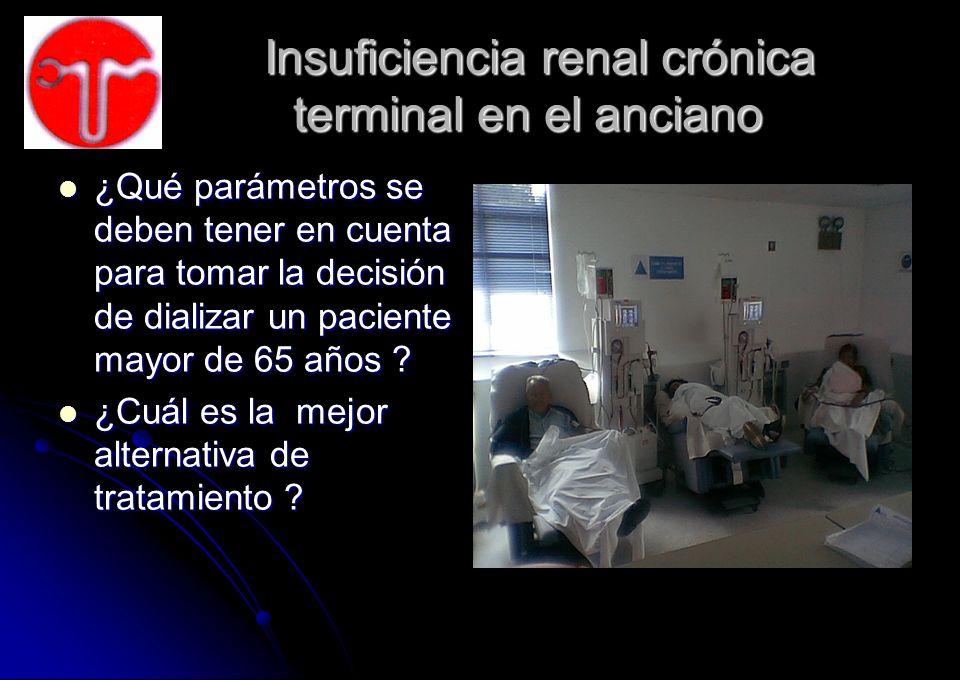 Insuficiencia renal crónica terminal en el anciano Insuficiencia renal crónica terminal en el anciano ¿Qué parámetros se deben tener en cuenta para to