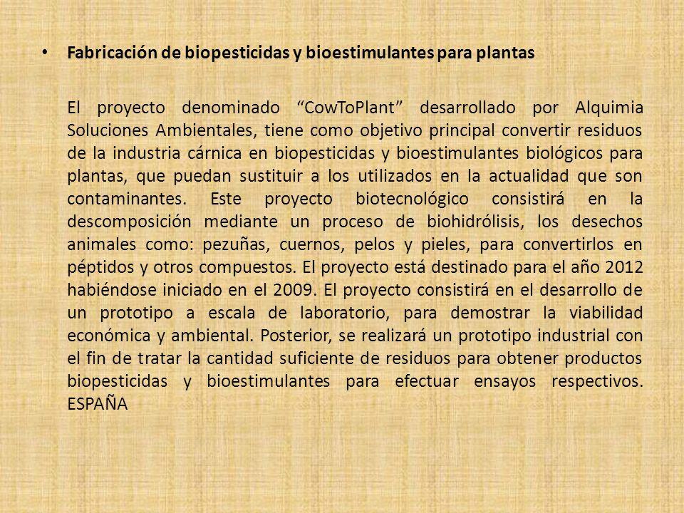 Fabricación de biopesticidas y bioestimulantes para plantas El proyecto denominado CowToPlant desarrollado por Alquimia Soluciones Ambientales, tiene