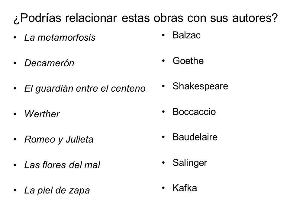 Revisa tus respuestas después de leer esta pista: La metamorfosis (1915) Decamerón (1353) El guardián entre el centeno (195 ) Werther (1774) Romeo y Julieta (1597) Las flores del mal (1857) La piel de zapa (1831)