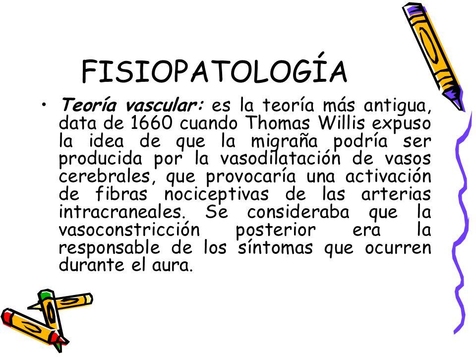 FISIOPATOLOGÍA Teoría vascular: es la teoría más antigua, data de 1660 cuando Thomas Willis expuso la idea de que la migraña podría ser producida por
