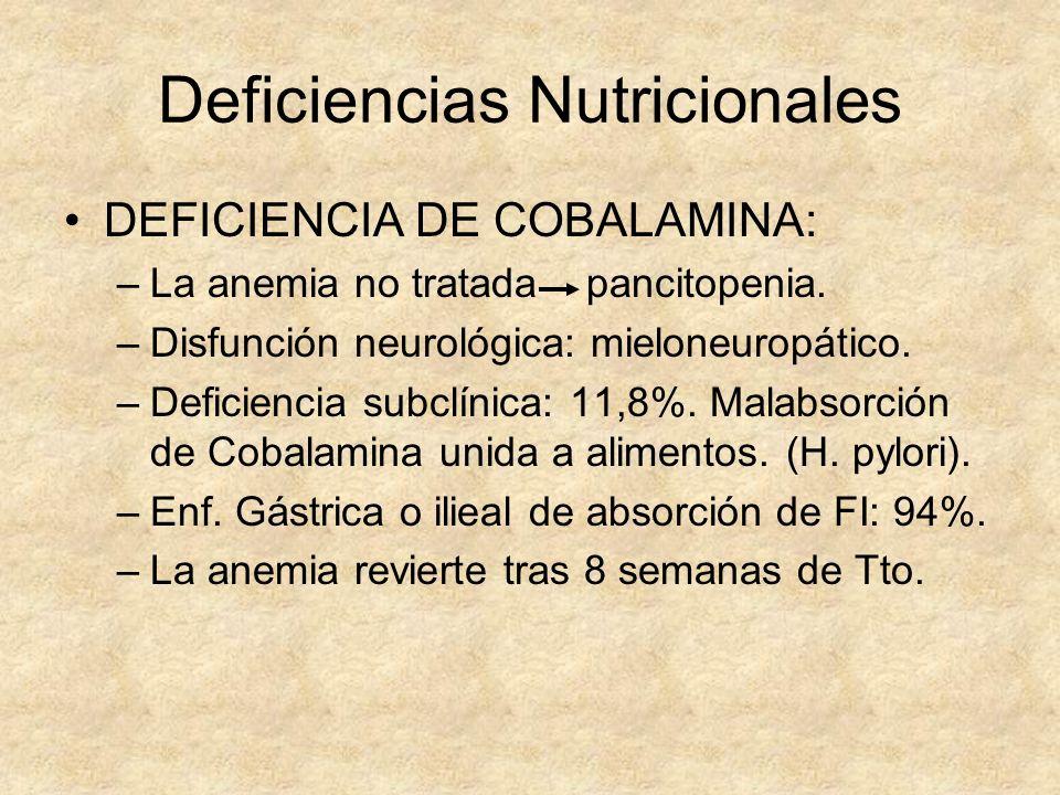 Deficiencias Nutricionales DEFICIENCIA DE COBALAMINA: –La anemia no tratada pancitopenia. –Disfunción neurológica: mieloneuropático. –Deficiencia subc