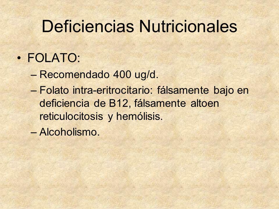 Deficiencias Nutricionales FOLATO: –Recomendado 400 ug/d. –Folato intra-eritrocitario: fálsamente bajo en deficiencia de B12, fálsamente altoen reticu