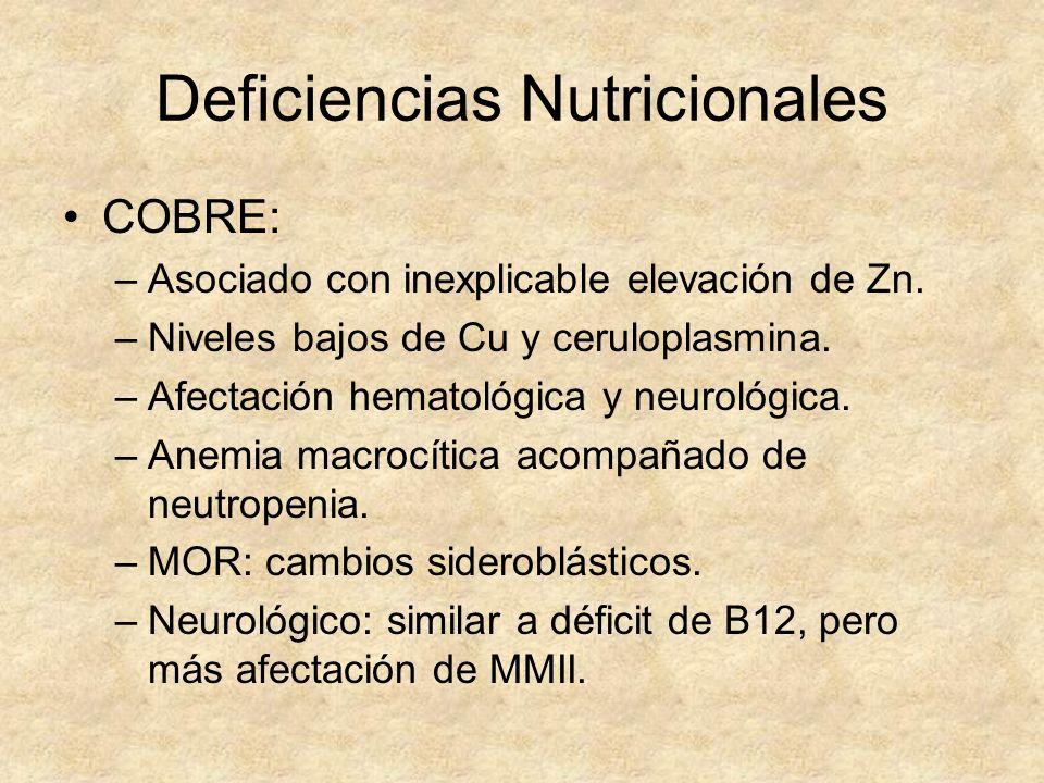 Deficiencias Nutricionales COBRE: –Asociado con inexplicable elevación de Zn. –Niveles bajos de Cu y ceruloplasmina. –Afectación hematológica y neurol