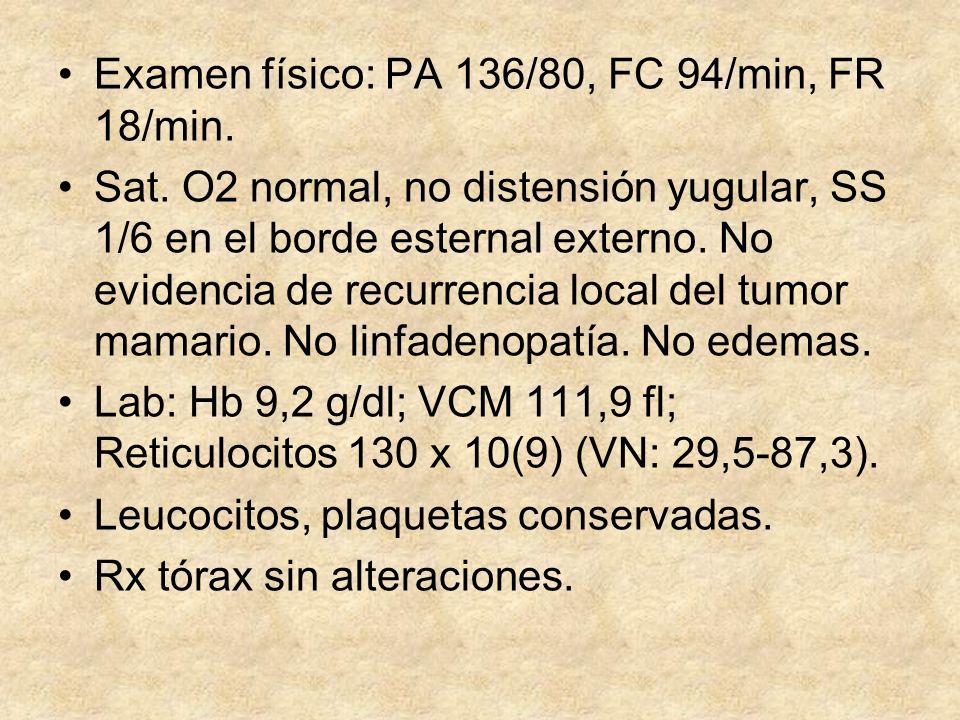 Examen físico: PA 136/80, FC 94/min, FR 18/min. Sat. O2 normal, no distensión yugular, SS 1/6 en el borde esternal externo. No evidencia de recurrenci