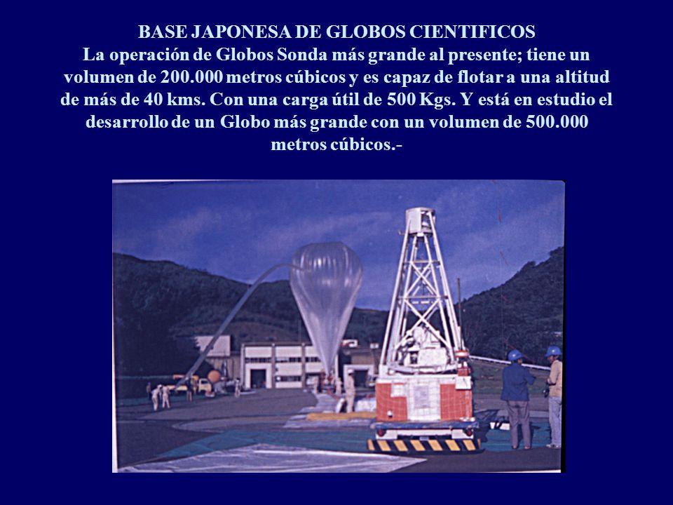BASE JAPONESA DE GLOBOS CIENTIFICOS La operación de Globos Sonda más grande al presente; tiene un volumen de 200.000 metros cúbicos y es capaz de flotar a una altitud de más de 40 kms.