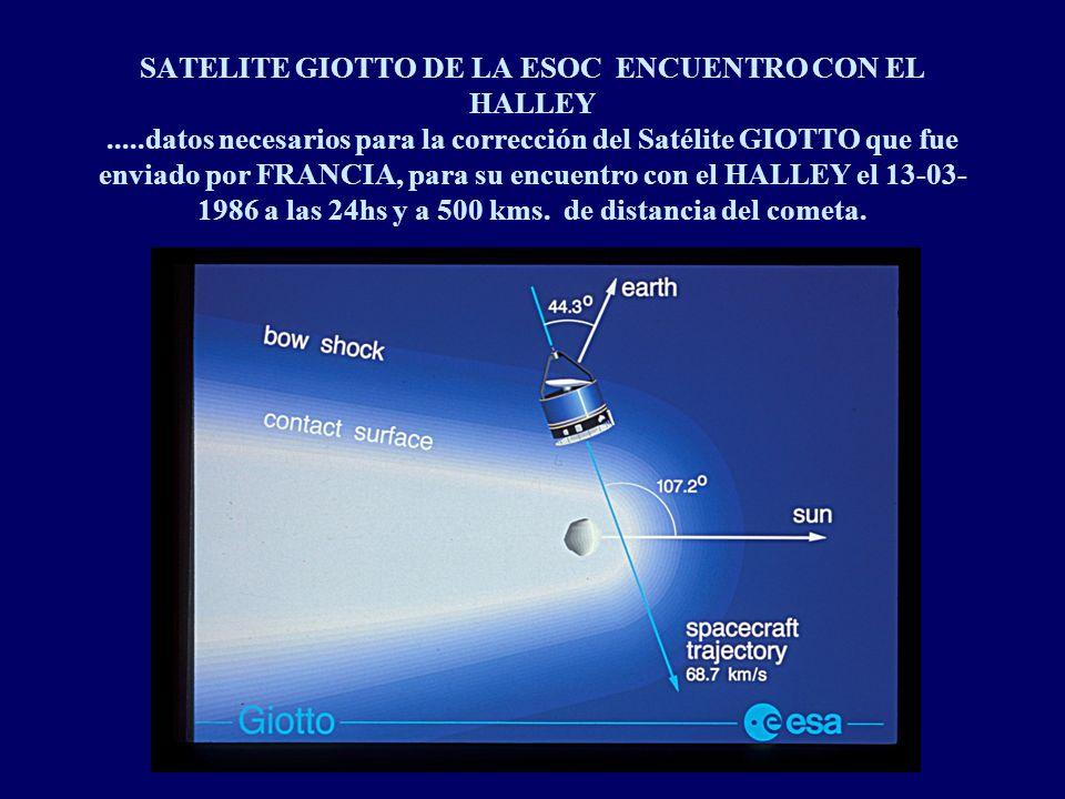 SATELITE GIOTTO DE LA ESOC ENCUENTRO CON EL HALLEY.....datos necesarios para la corrección del Satélite GIOTTO que fue enviado por FRANCIA, para su encuentro con el HALLEY el 13-03- 1986 a las 24hs y a 500 kms.