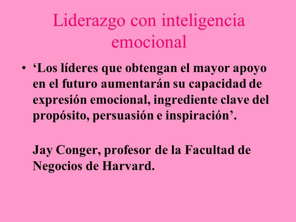 Liderazgo con inteligencia emocional Los líderes que obtengan el mayor apoyo en el futuro aumentarán su capacidad de expresión emocional, ingrediente