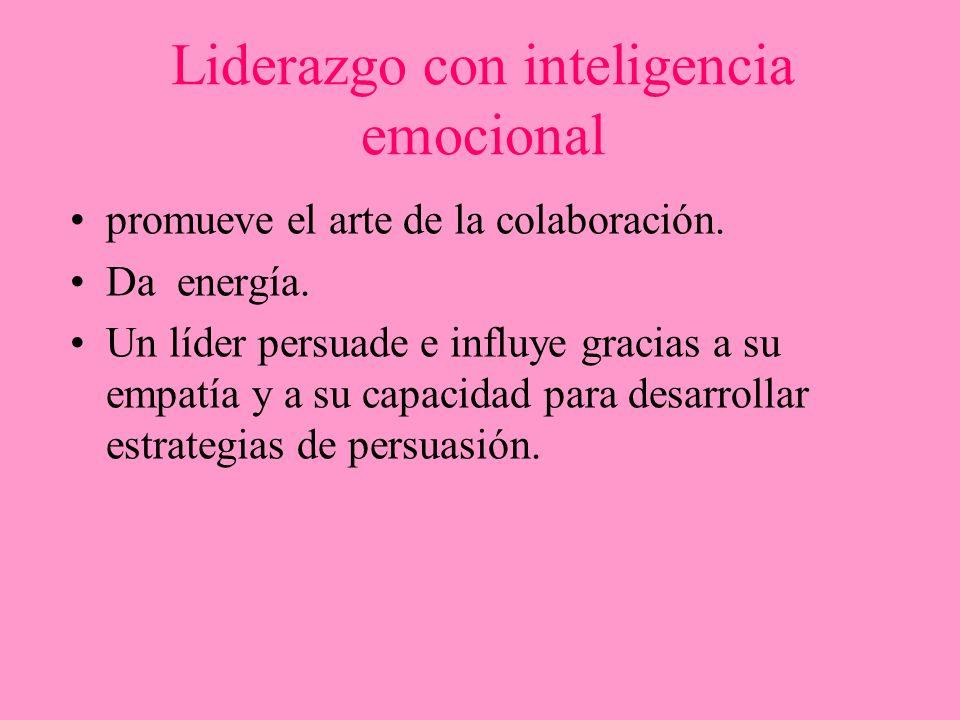 Liderazgo con inteligencia emocional promueve el arte de la colaboración. Da energía. Un líder persuade e influye gracias a su empatía y a su capacida
