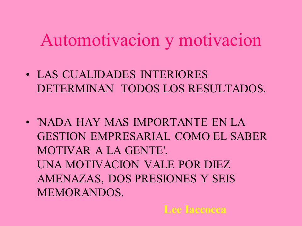 Automotivacion y motivacion LAS CUALIDADES INTERIORES DETERMINAN TODOS LOS RESULTADOS. 'NADA HAY MAS IMPORTANTE EN LA GESTION EMPRESARIAL COMO EL SABE