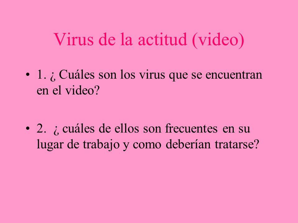 Virus de la actitud (video) 1. ¿ Cuáles son los virus que se encuentran en el video? 2. ¿ cuáles de ellos son frecuentes en su lugar de trabajo y como