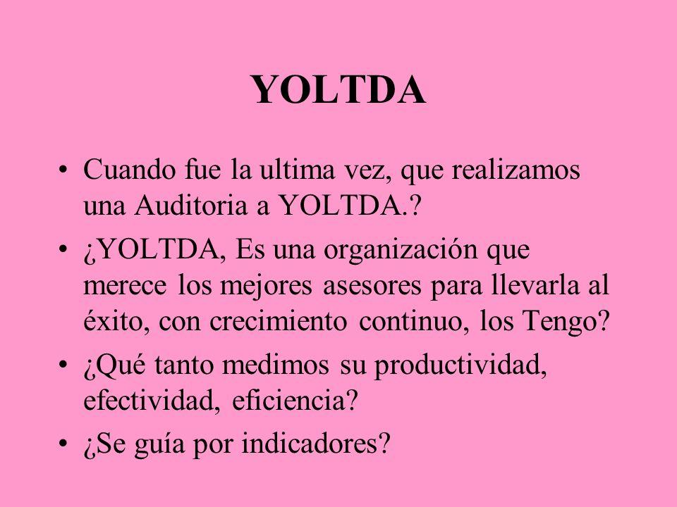 YOLTDA Cuando fue la ultima vez, que realizamos una Auditoria a YOLTDA.? ¿YOLTDA, Es una organización que merece los mejores asesores para llevarla al