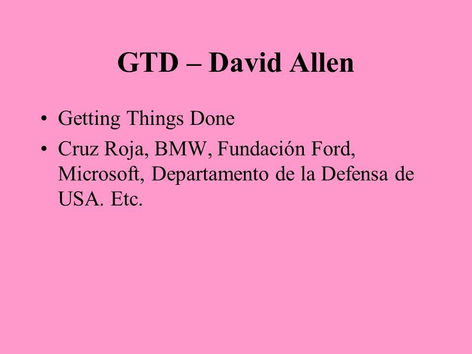GTD – David Allen Getting Things Done Cruz Roja, BMW, Fundación Ford, Microsoft, Departamento de la Defensa de USA. Etc.