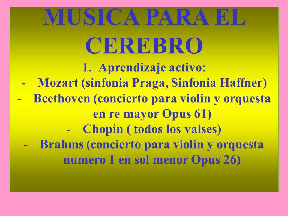 MUSICA PARA EL CEREBRO 1.Aprendizaje activo: -Mozart (sinfonia Praga, Sinfonia Haffner) -Beethoven (concierto para violin y orquesta en re mayor Opus