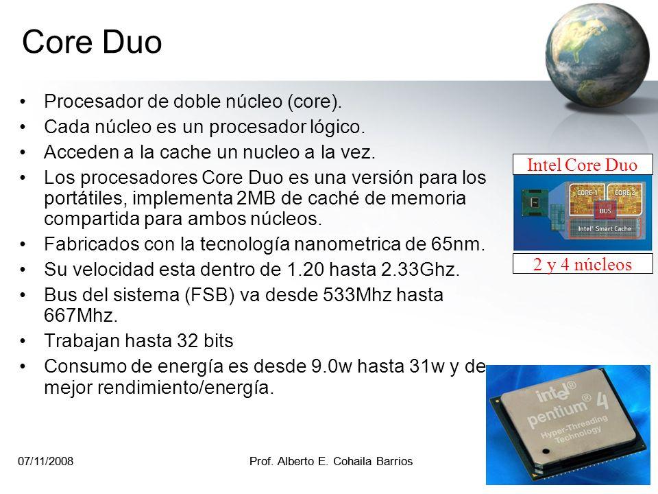 07/11/2008Prof. Alberto E. Cohaila Barrios 10 07/11/2008Prof. Alberto E. Cohaila Barrios 10 Arquitectura del procesador AMD Athlon Note que se ha quit