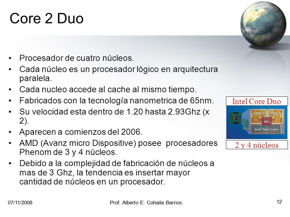 07/11/2008Prof. Alberto E. Cohaila Barrios 11 07/11/2008Prof. Alberto E. Cohaila Barrios 11 Core Duo Procesador de doble núcleo (core). Cada núcleo es