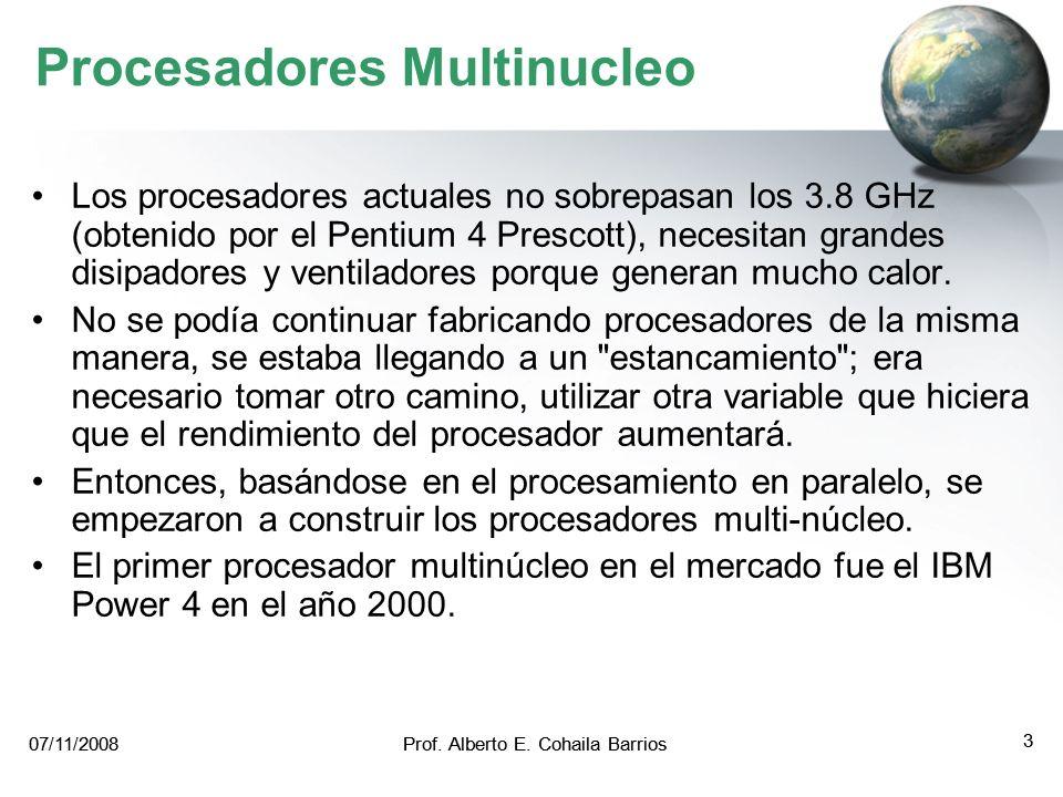 07/11/2008Prof. Alberto E. Cohaila Barrios 2 07/11/2008Prof. Alberto E. Cohaila Barrios 2 Procesadores Multinucleo La tecnología actual de fabricación