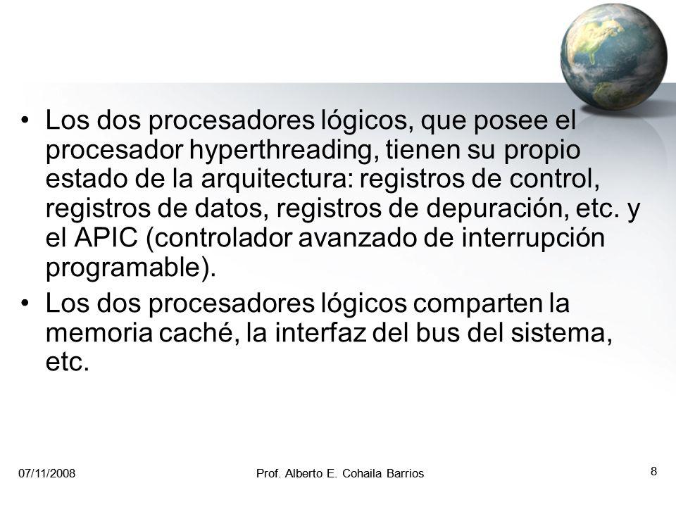 07/11/2008Prof. Alberto E. Cohaila Barrios 7 07/11/2008Prof. Alberto E. Cohaila Barrios 7 HyperThreading Esta tecnología fue creada por Intel, para lo