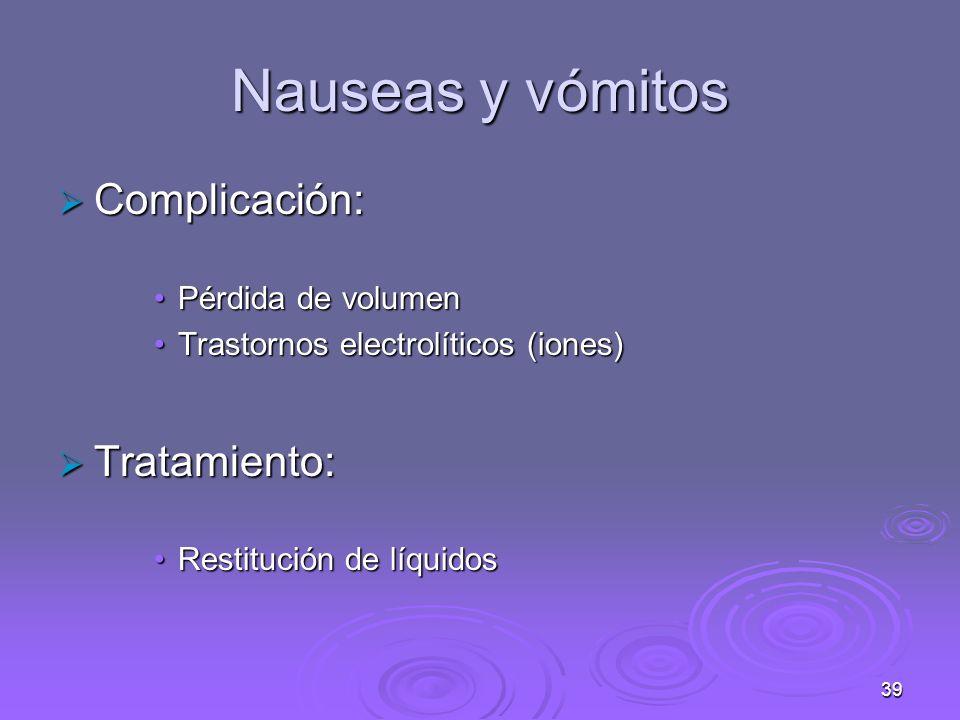 39 Nauseas y vómitos Complicación: Complicación: Pérdida de volumenPérdida de volumen Trastornos electrolíticos (iones)Trastornos electrolíticos (iones) Tratamiento: Tratamiento: Restitución de líquidosRestitución de líquidos