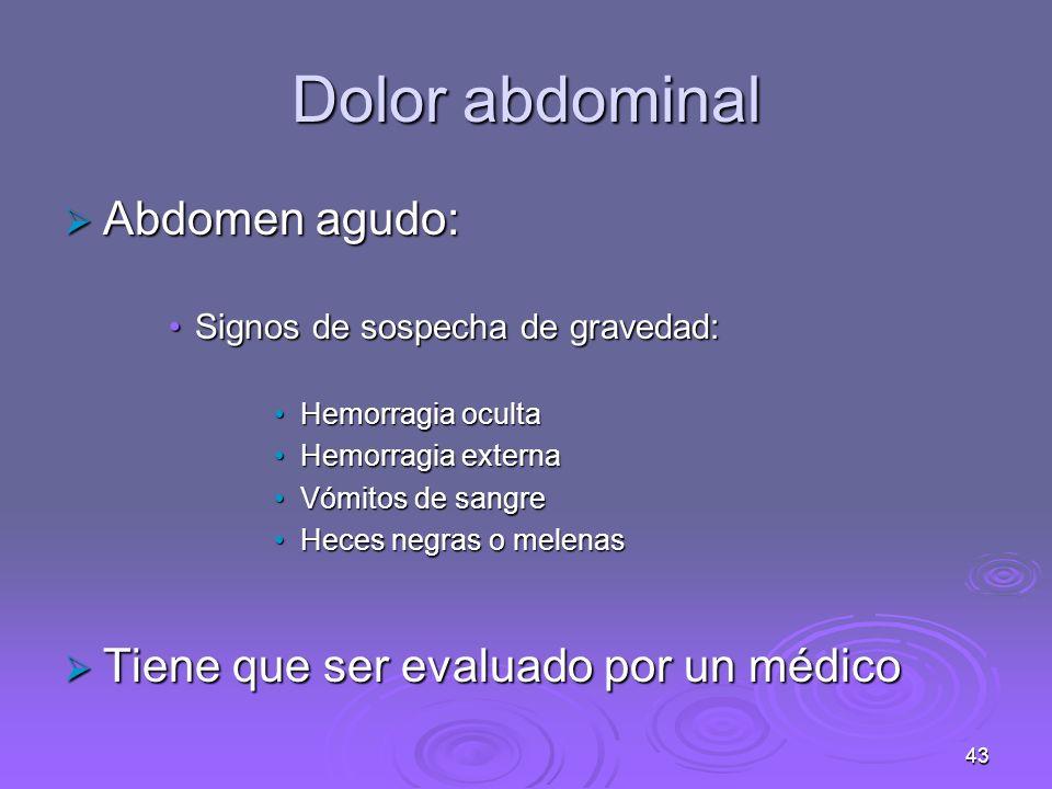 44 Dolor abdominal Dolores crónicos Dolores crónicos Causas más frecuentes:Causas más frecuentes: Úlcera pépticaÚlcera péptica Trastornos biliaresTrastornos biliares Síndrome del colon irritableSíndrome del colon irritable