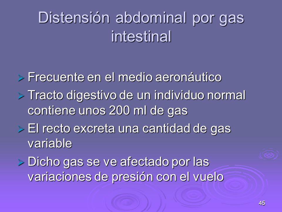 46 Distensión abdominal por gas intestinal El 99% del gas expulsado consta de: El 99% del gas expulsado consta de: NitrógenoNitrógeno OxígenoOxígeno Anhídrido carbónicoAnhídrido carbónico HidrógenoHidrógeno MetanoMetano