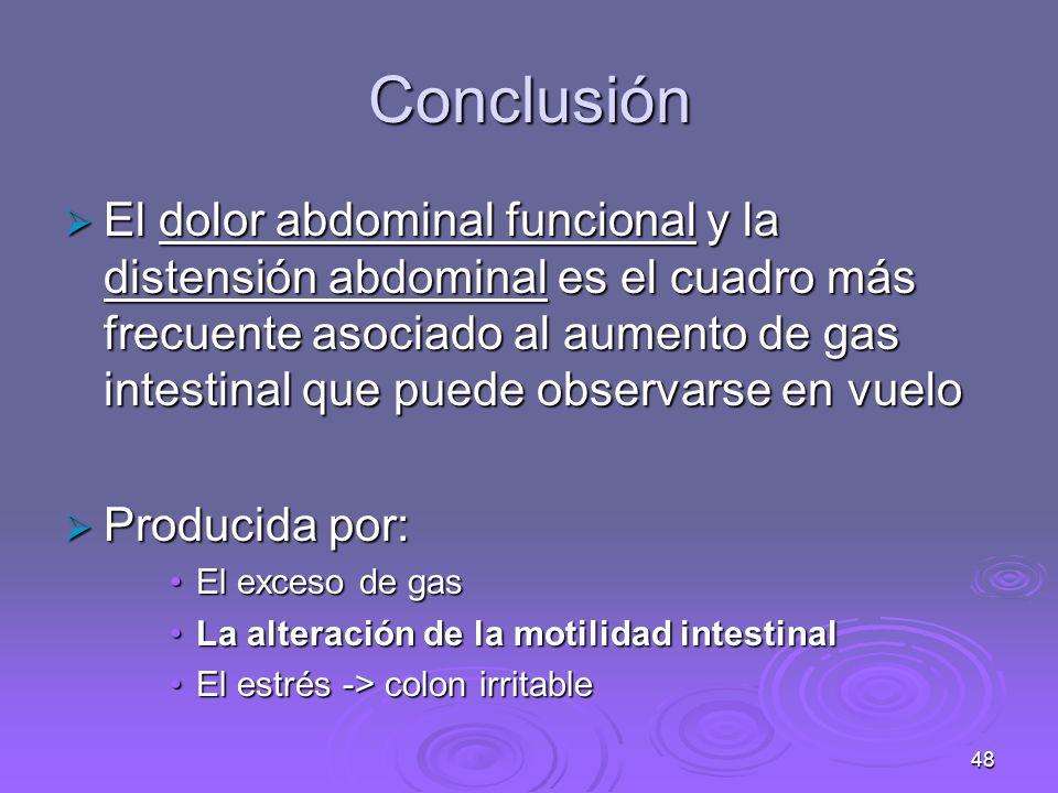 48 Conclusión El dolor abdominal funcional y la distensión abdominal es el cuadro más frecuente asociado al aumento de gas intestinal que puede observarse en vuelo El dolor abdominal funcional y la distensión abdominal es el cuadro más frecuente asociado al aumento de gas intestinal que puede observarse en vuelo Producida por: Producida por: El exceso de gasEl exceso de gas La alteración de la motilidad intestinalLa alteración de la motilidad intestinal El estrés -> colon irritableEl estrés -> colon irritable