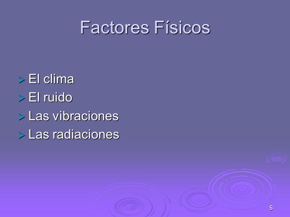 5 Factores Físicos El clima El clima El ruido El ruido Las vibraciones Las vibraciones Las radiaciones Las radiaciones