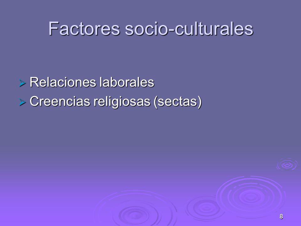 8 Factores socio-culturales Relaciones laborales Relaciones laborales Creencias religiosas (sectas) Creencias religiosas (sectas)