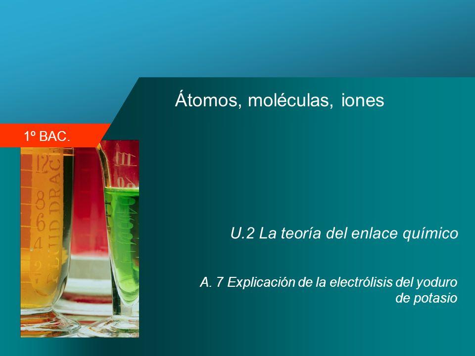 1º BAC. Átomos, moléculas, iones U.2 La teoría del enlace químico A. 7 Explicación de la electrólisis del yoduro de potasio