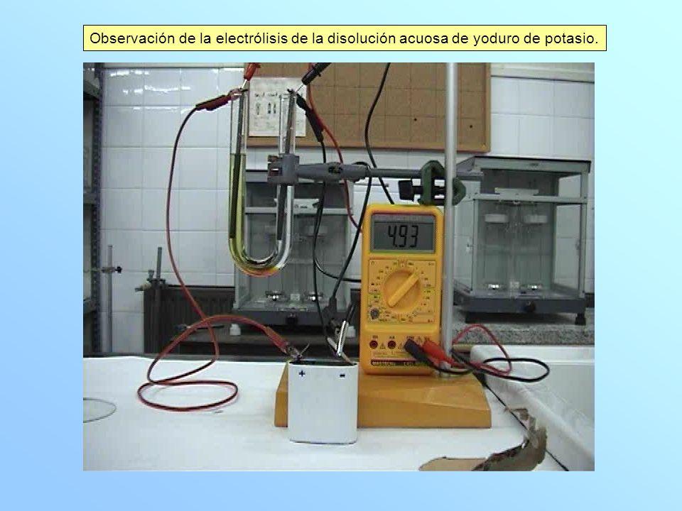 Describe el proceso que ocurre al disolver el yoduro de potasio en agua.