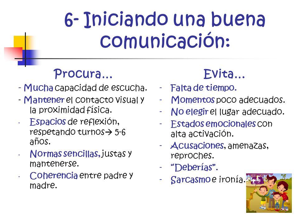 6- Iniciando una buena comunicación: Procura… - Mucha capacidad de escucha. - Mantener el contacto visual y la proximidad física. - Espacios de reflex