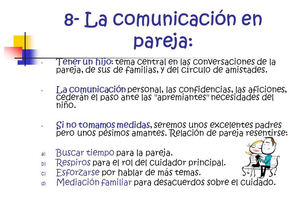 8- La comunicación en pareja: - Tener un hijo: tema central en las conversaciones de la pareja, de sus de familias, y del círculo de amistades. - La c