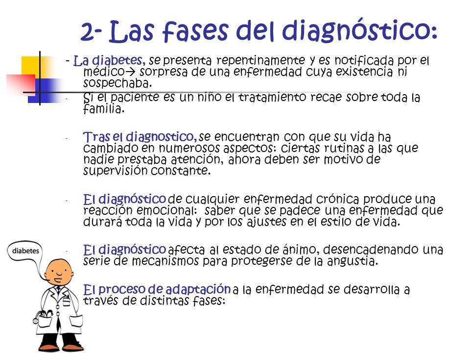 2- Las fases del diagnóstico: - La diabetes, se presenta repentinamente y es notificada por el médico sorpresa de una enfermedad cuya existencia ni so